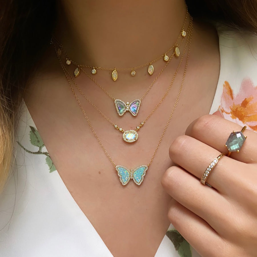 Opal Butterfly Necklace With Crystals in White Opal Gold