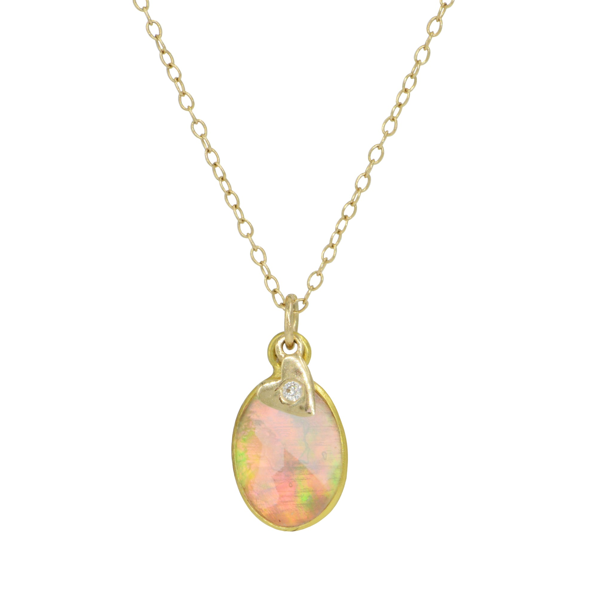 Ethiopian Opal Doublet Necklace With Diamond Heart Charm