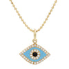 Evil Eye Necklace in Blue Enamel With Diamonds