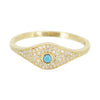 Evil Eye Ring With Turquoise and Diamonds in 14k Gold