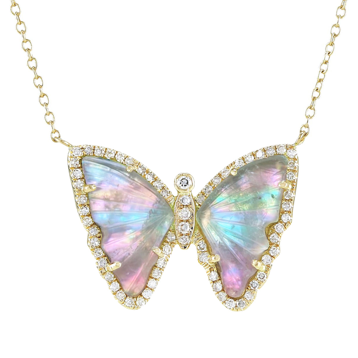 Fairy Tourmaline Butterfly Necklace With Pearl and Diamonds in 14k Gold