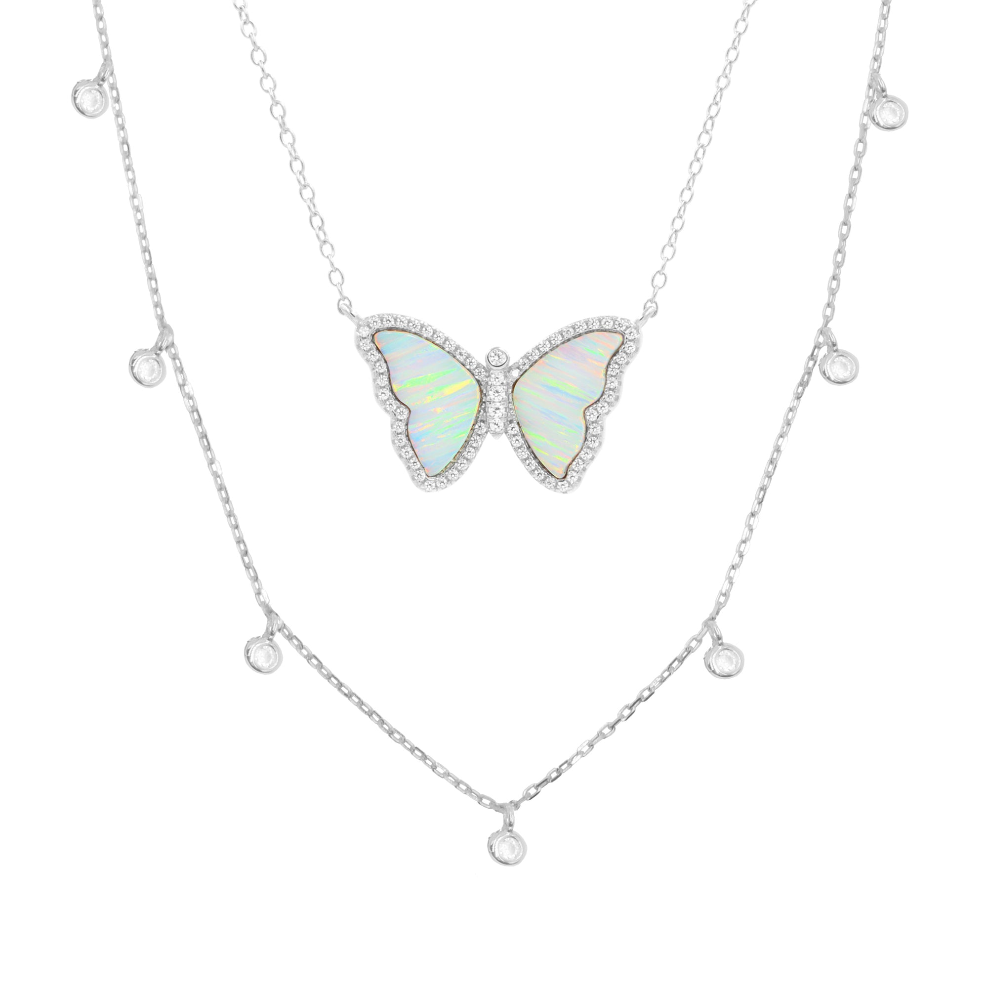 Gift Set | Opal Butterfly Necklace + Silver Choker