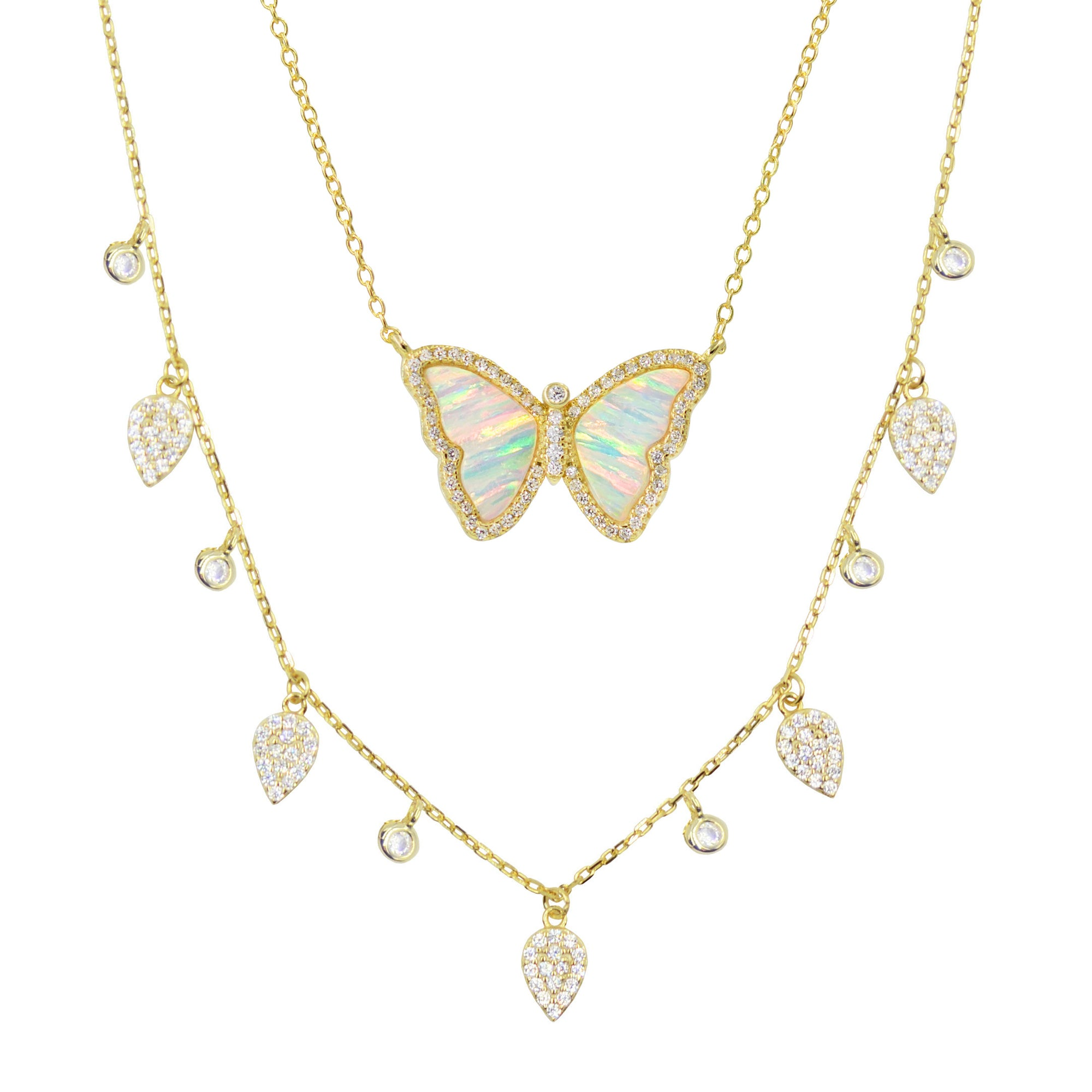 Gift Set | Opal Butterfly Necklace + Gold Choker