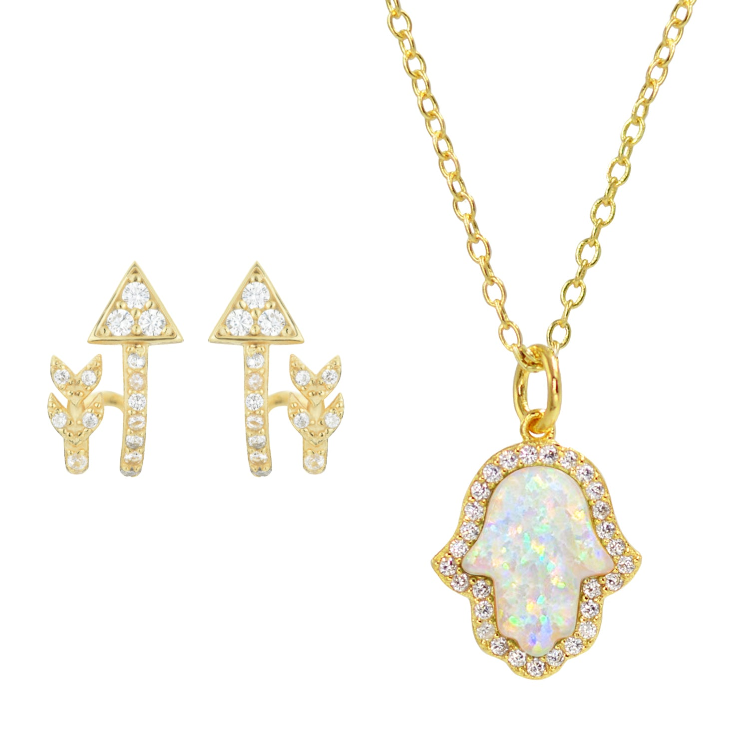 Gift Set | Opal Hamsa Necklace + Arrow Huggie Earrings