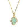 Hamsa Hand Green Opal Necklace in Gold