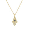 Hamsa Hand Necklace With Blue Sapphire and Diamonds - Mini