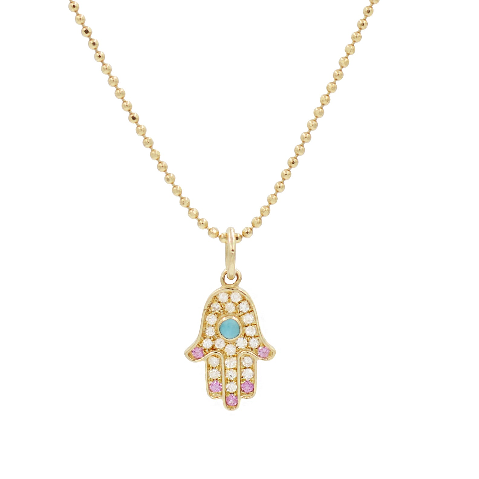 Hamsa Hand Necklace With Pink Sapphire, Turquoise and Diamonds