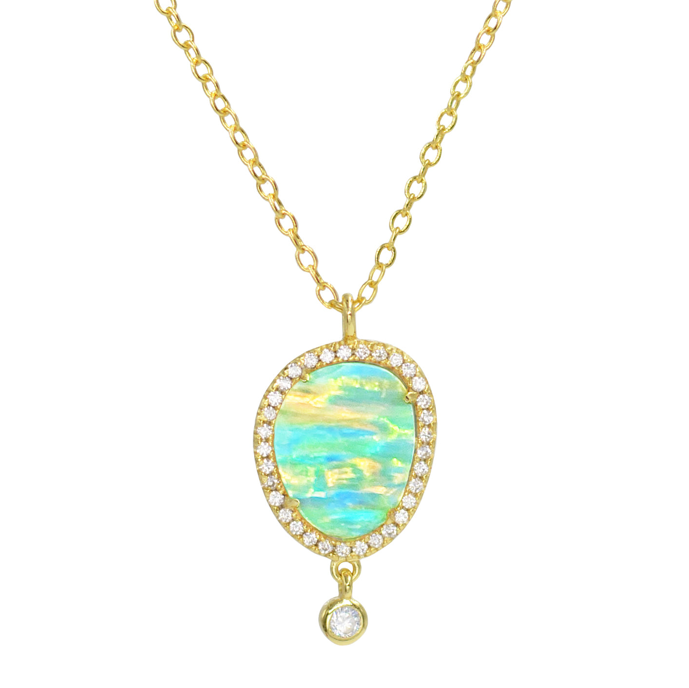 Johari Necklace with Green Opal Stripes Set in Sterling Silver with Gold Plating and Crystals