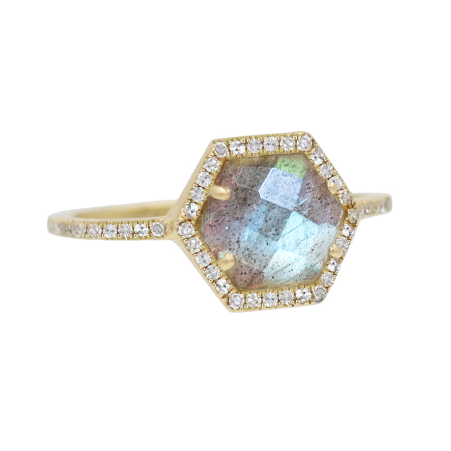 Labradorite Hex Ring With Diamonds in 14k Gold