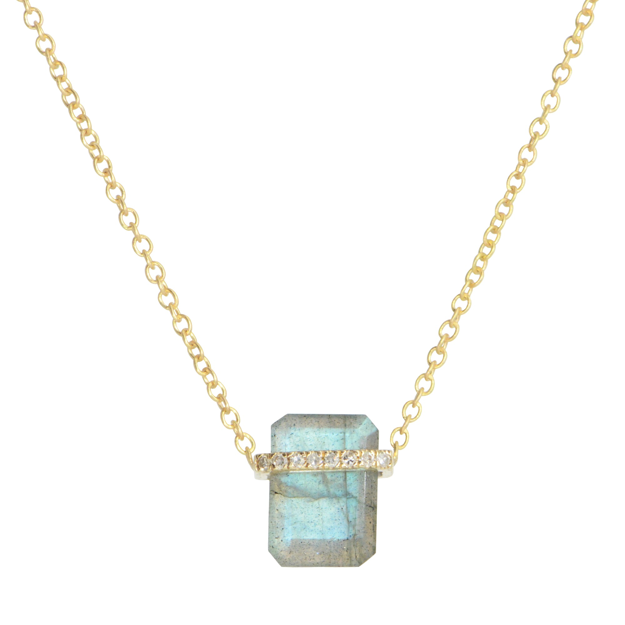Labradorite Huggie Necklace With Diamonds Mini in 14k Gold