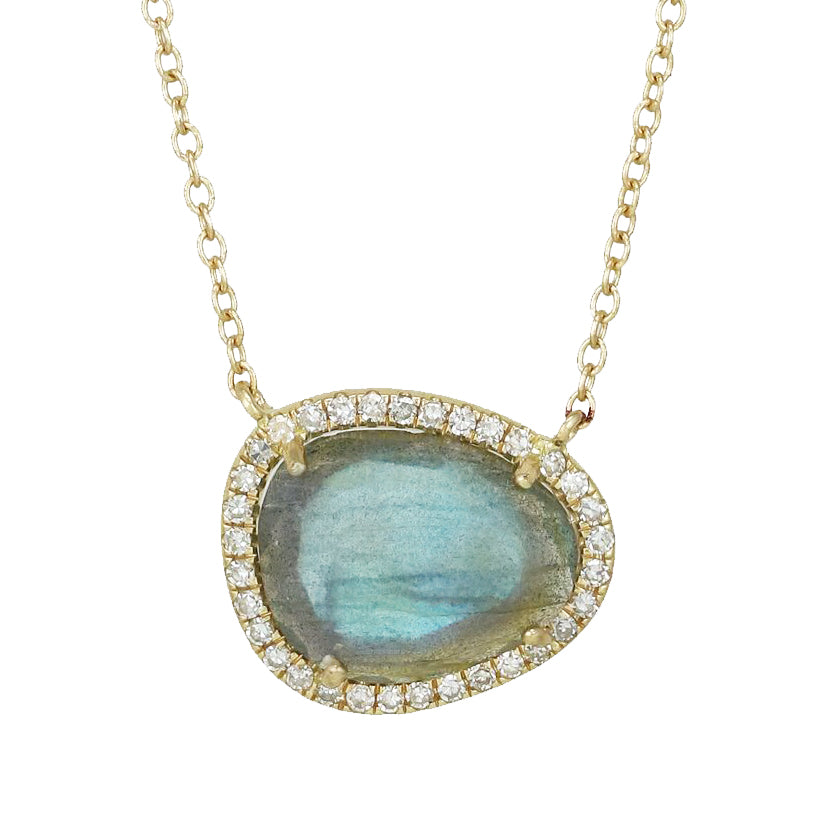 Labradorite Organic Pebble Necklace With Diamonds in 14k Gold