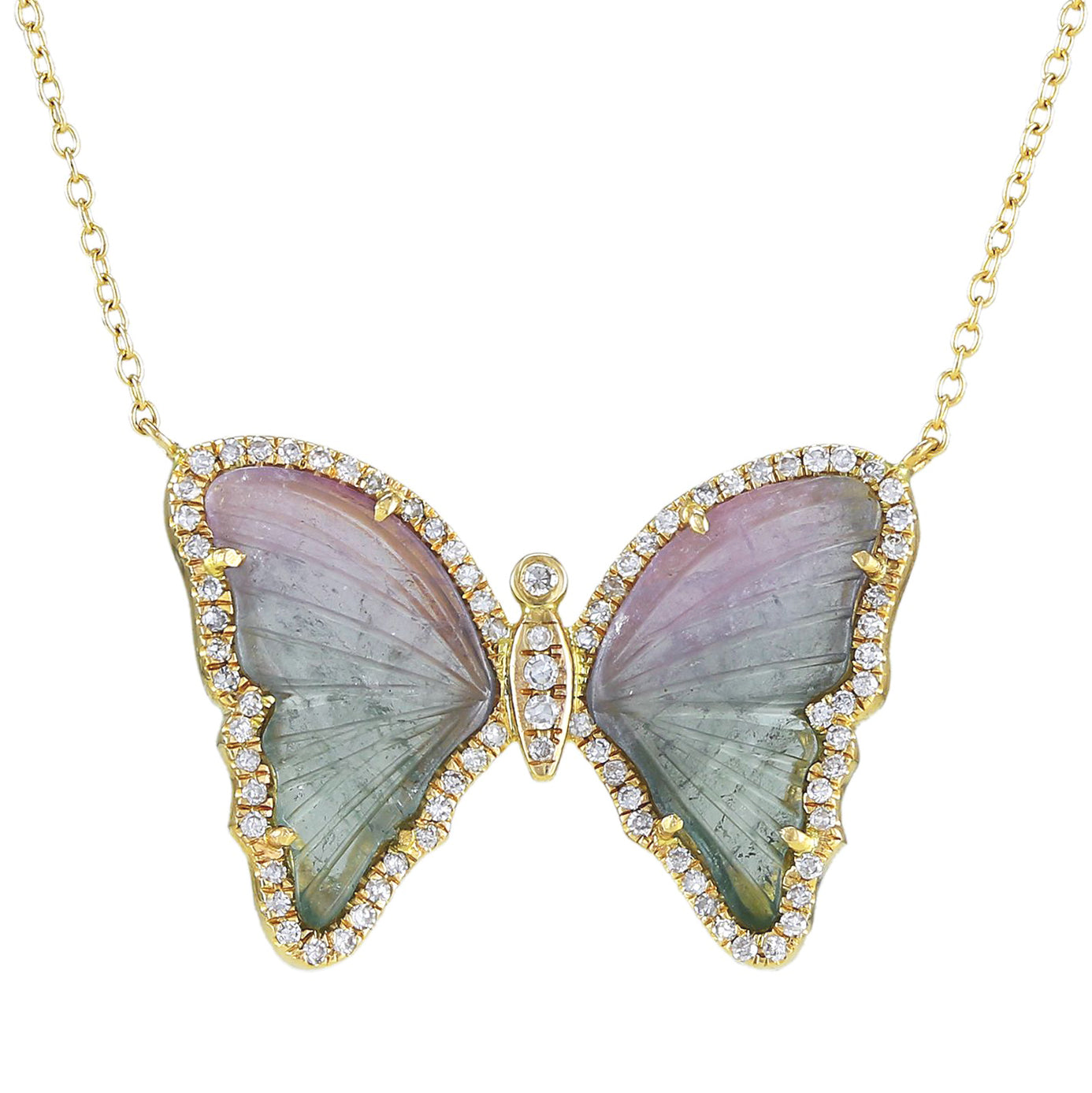 Mauve and Green Tourmaline Butterfly Necklace With Diamonds