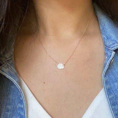 Mini Diamond Slice Necklace in 14k Gold Lifestyle