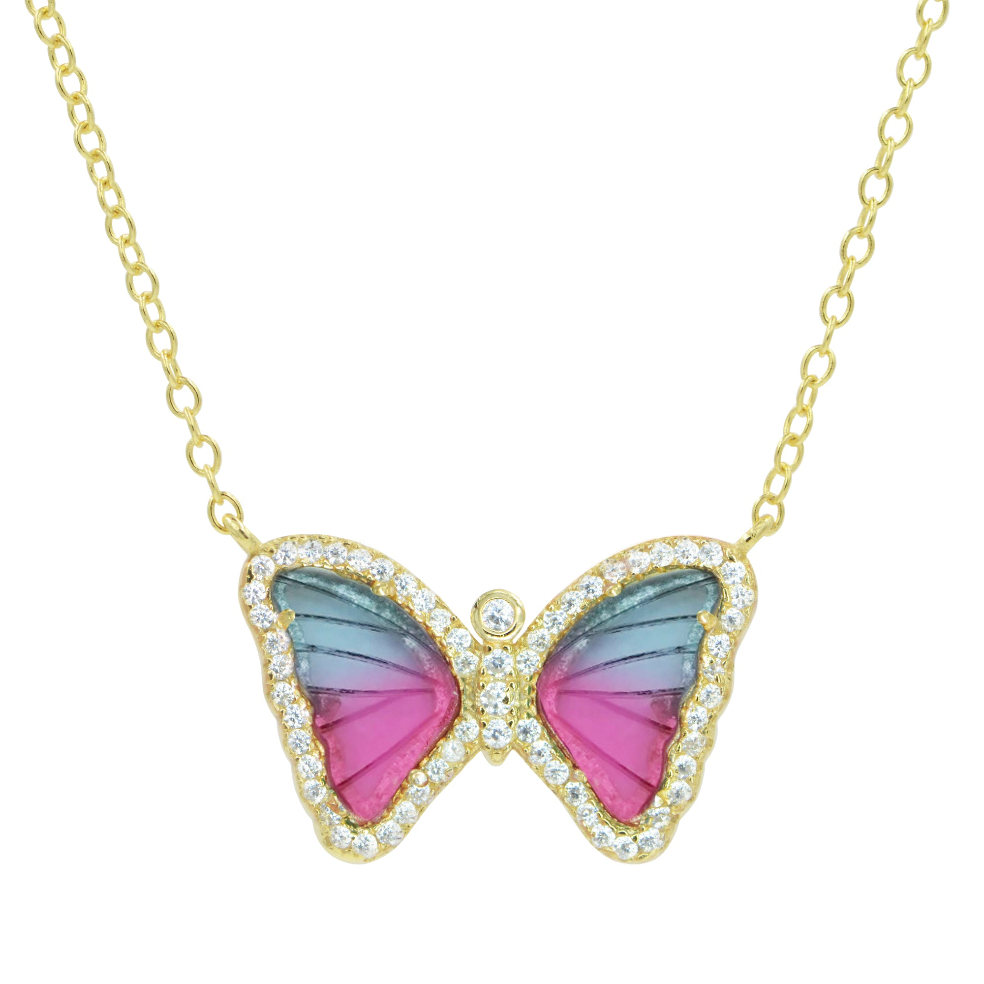 Mini gemstone butterfly necklace in bicolor tourmaline pink and blue