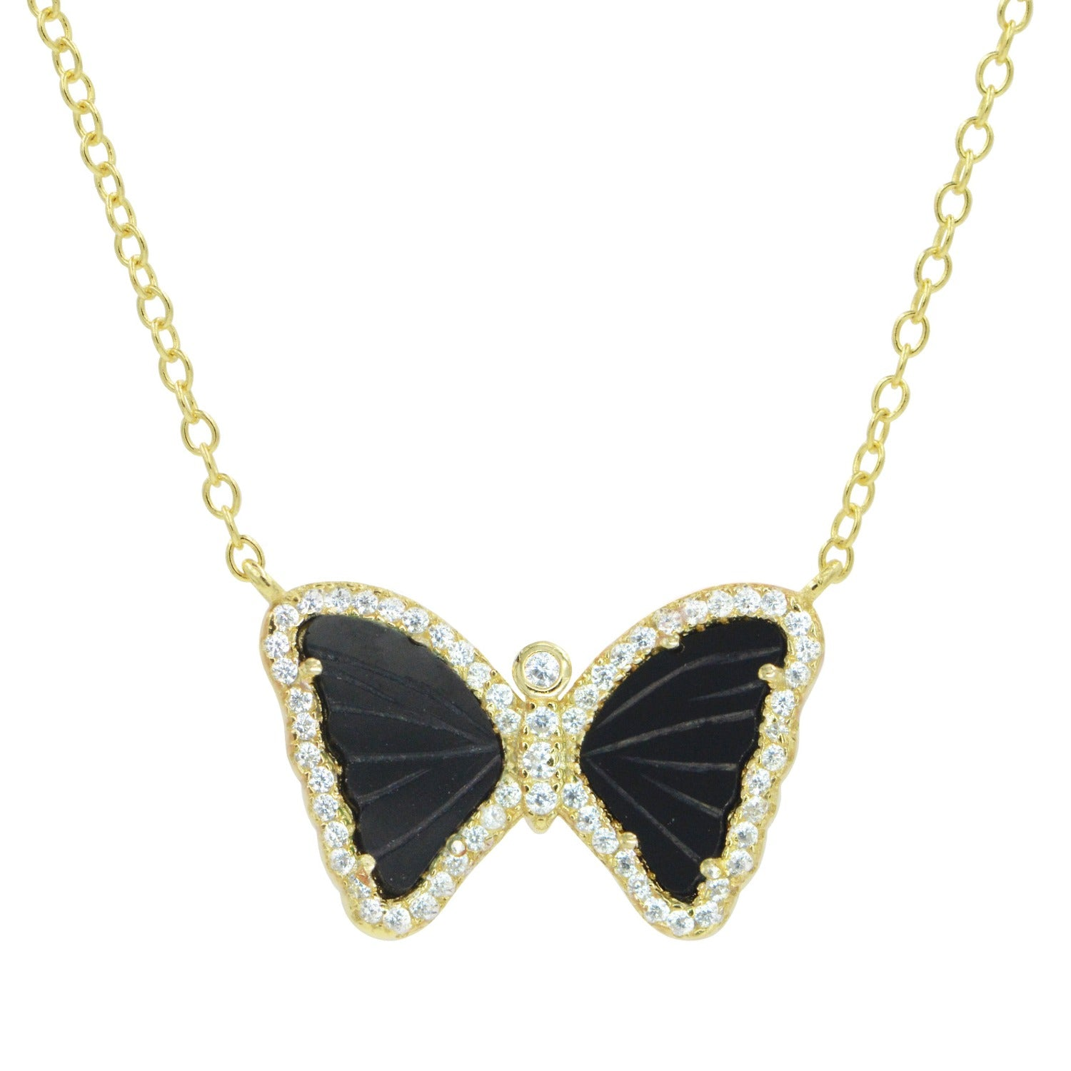 Mini Gemstone Butterfly Necklace in Black Onyx