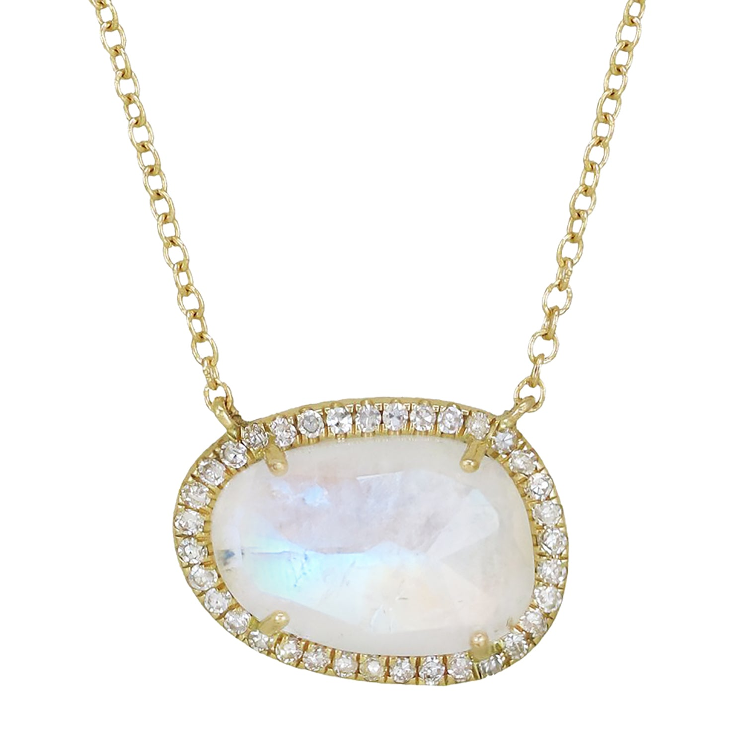 Moonstone Organic Shape Gemstone Necklace With Diamonds in 14k Gold