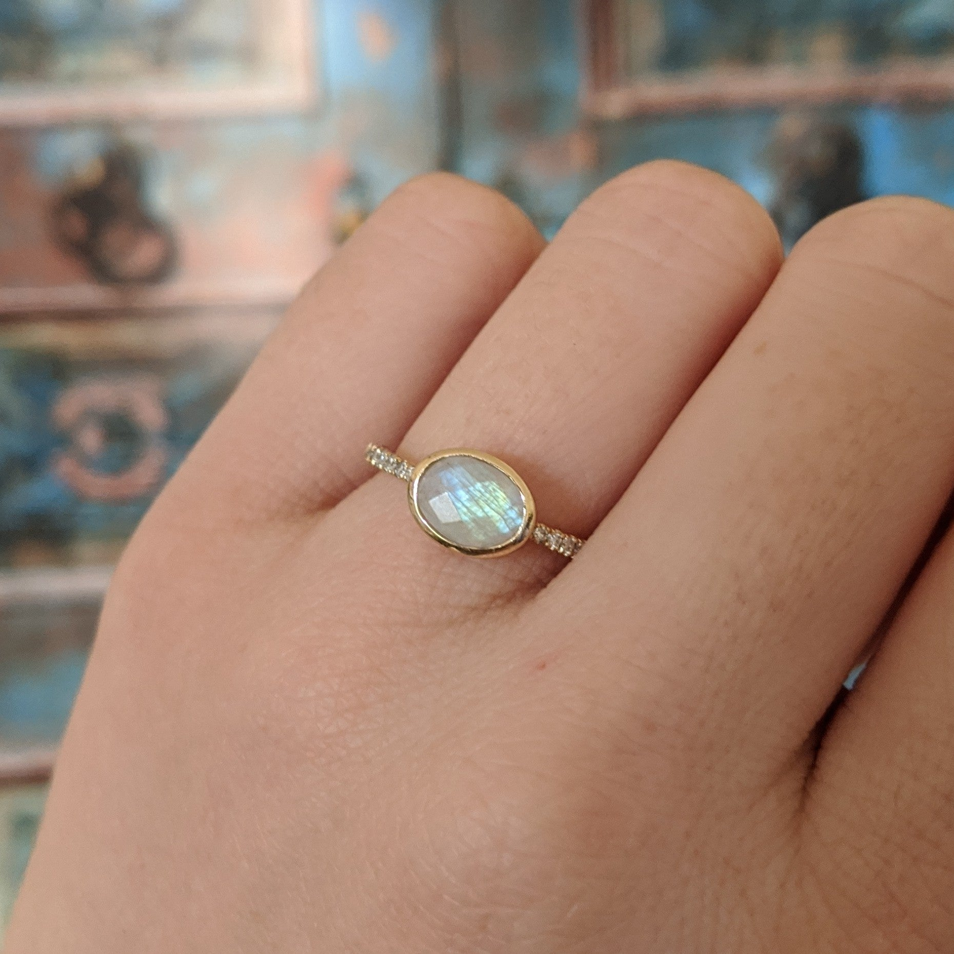 Moonstone Oval Ring With Diamonds in 14k Gold