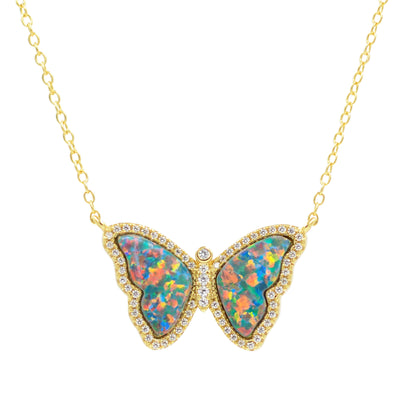 Opal Butterfly Necklace With Crystals in Black Opal Gold