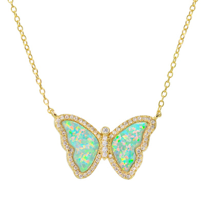 Opal Butterfly Necklace With Crystals in Green Opal Gold