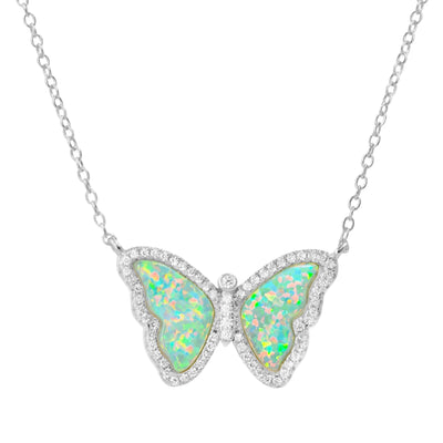 Opal Butterfly Necklace With Crystals in Green Opal Silver