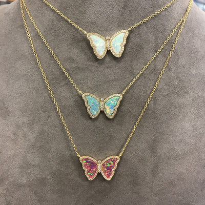 Opal Butterfly Necklace With Crystals Three Layered