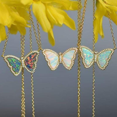 Opal Butterfly Necklace With Crystals Three Hanging