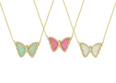Opal Butterfly Necklace With Crystals Triple