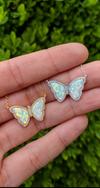Opal Butterfly Necklace With Crystals White Opal in Silver and Gold