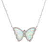 Opal Butterfly Necklace With Crystals in White Opal Silver