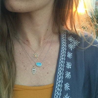 Opal Starburst Necklace With Diamonds in 14k Gold lifestyle
