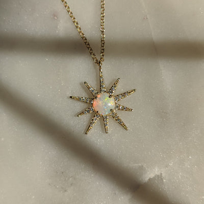 Opal Starburst Necklace With Diamonds in 14k Gold