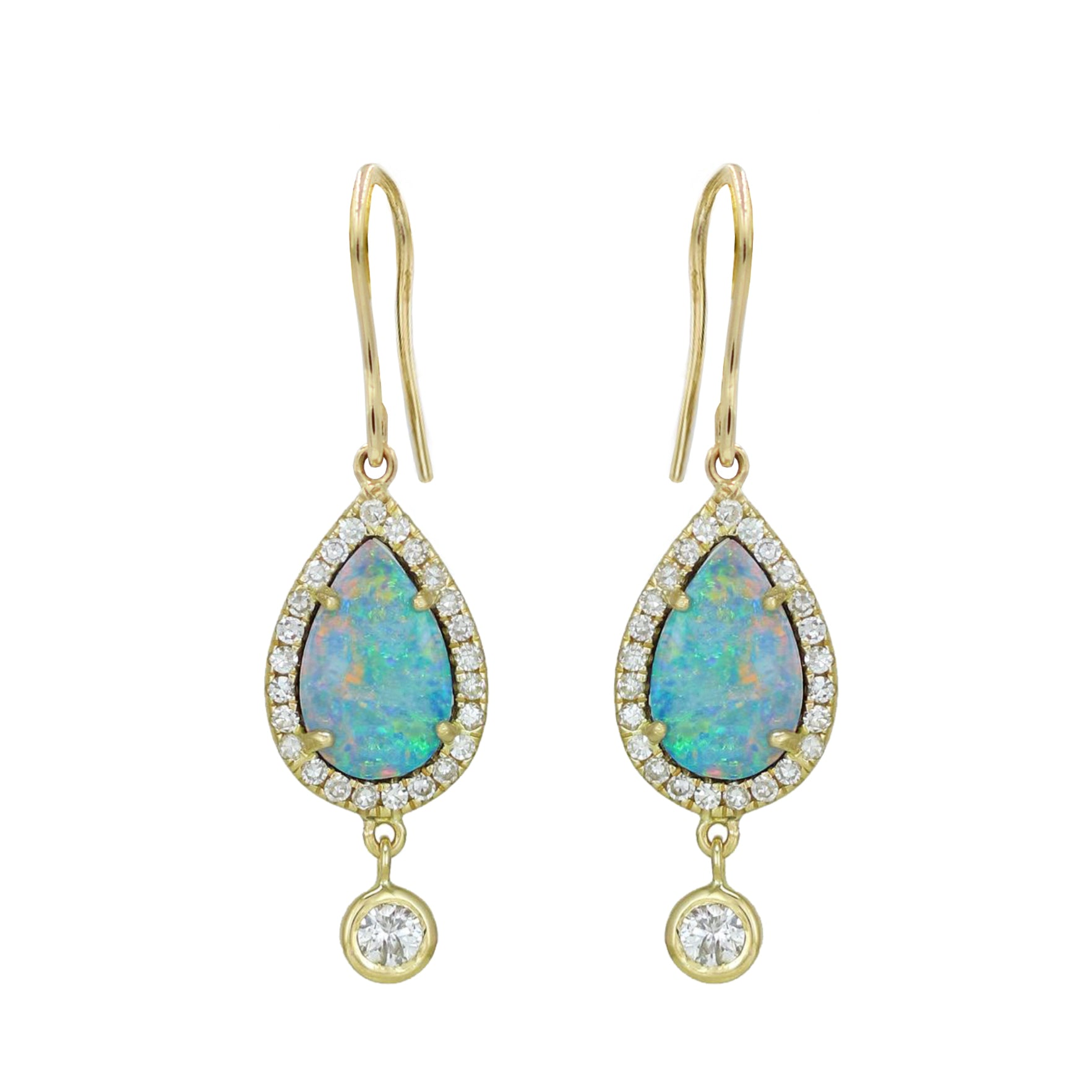 Opal Teardrop and Diamond Dangle Earrings in 14k Gold