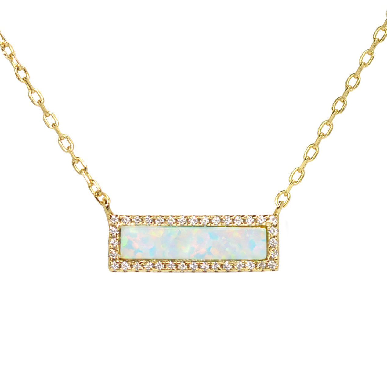 Reflection Opal Bar Necklace