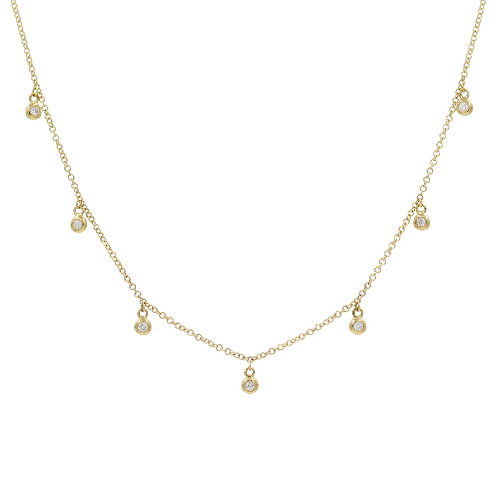 Orbits Diamond Drop Choker Necklace in 14k Gold