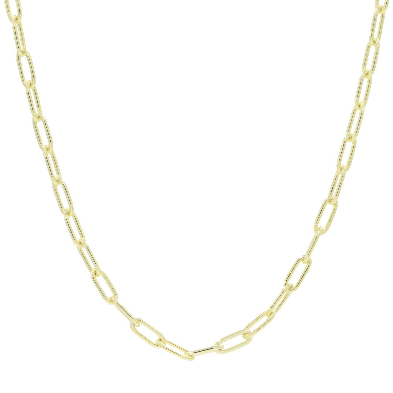 paper clip chain necklace in sterling silver gold plated