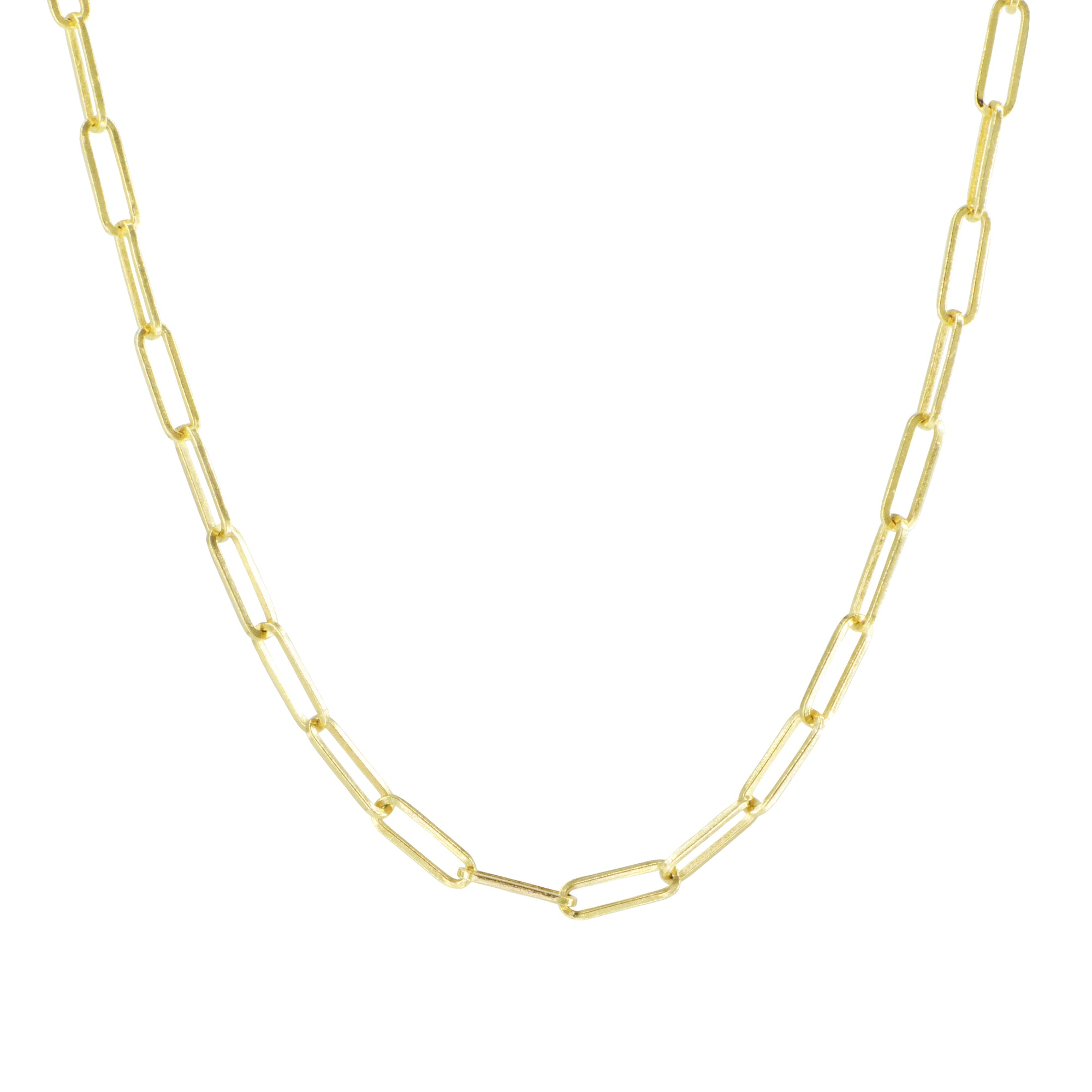 Paperclip Link Chain in 14k Gold