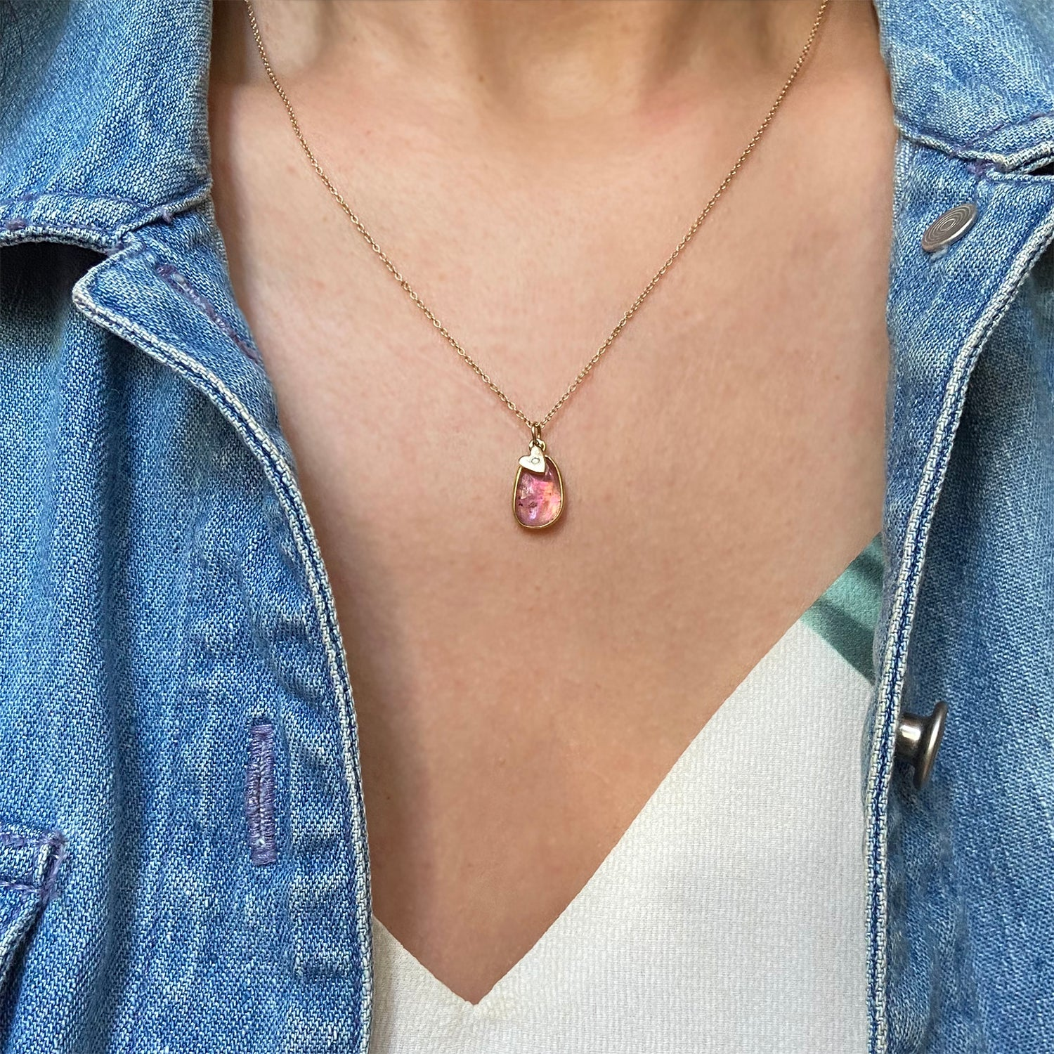 Pink Tourmaline Necklace With Diamond Heart Charm