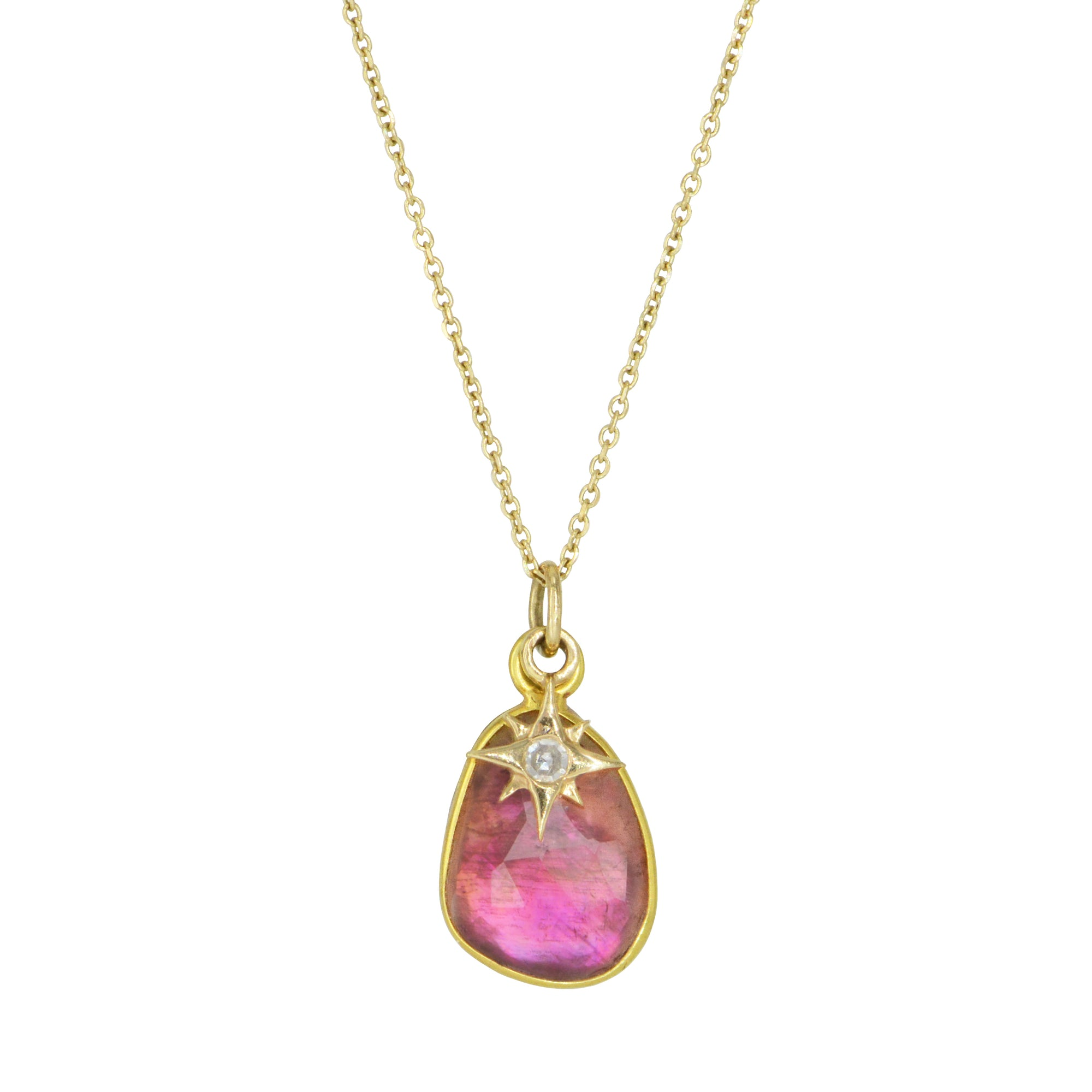 Pink Tourmaline Necklace With Diamond Star Charm