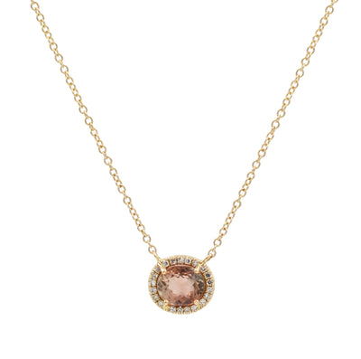 Purple Tourmaline Oval Necklace With Diamonds in 14k gold Long