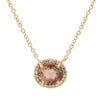 Purple Tourmaline Oval Necklace With Diamonds in 14k gold