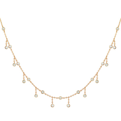 Rain Drop Choker Necklace With Crystals Rose Gold