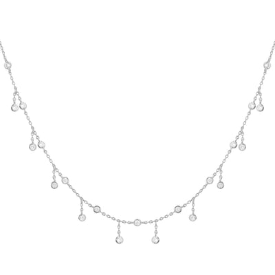 Rain Drop Choker Necklace With Crystals Silver