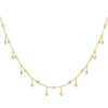 Rain Drop Choker Necklace With Crystals Gold