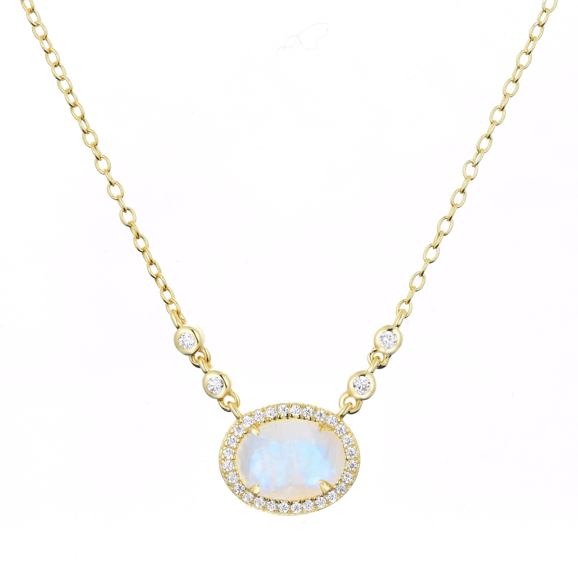 Aura Rainbow Moonstone Drop Necklace
