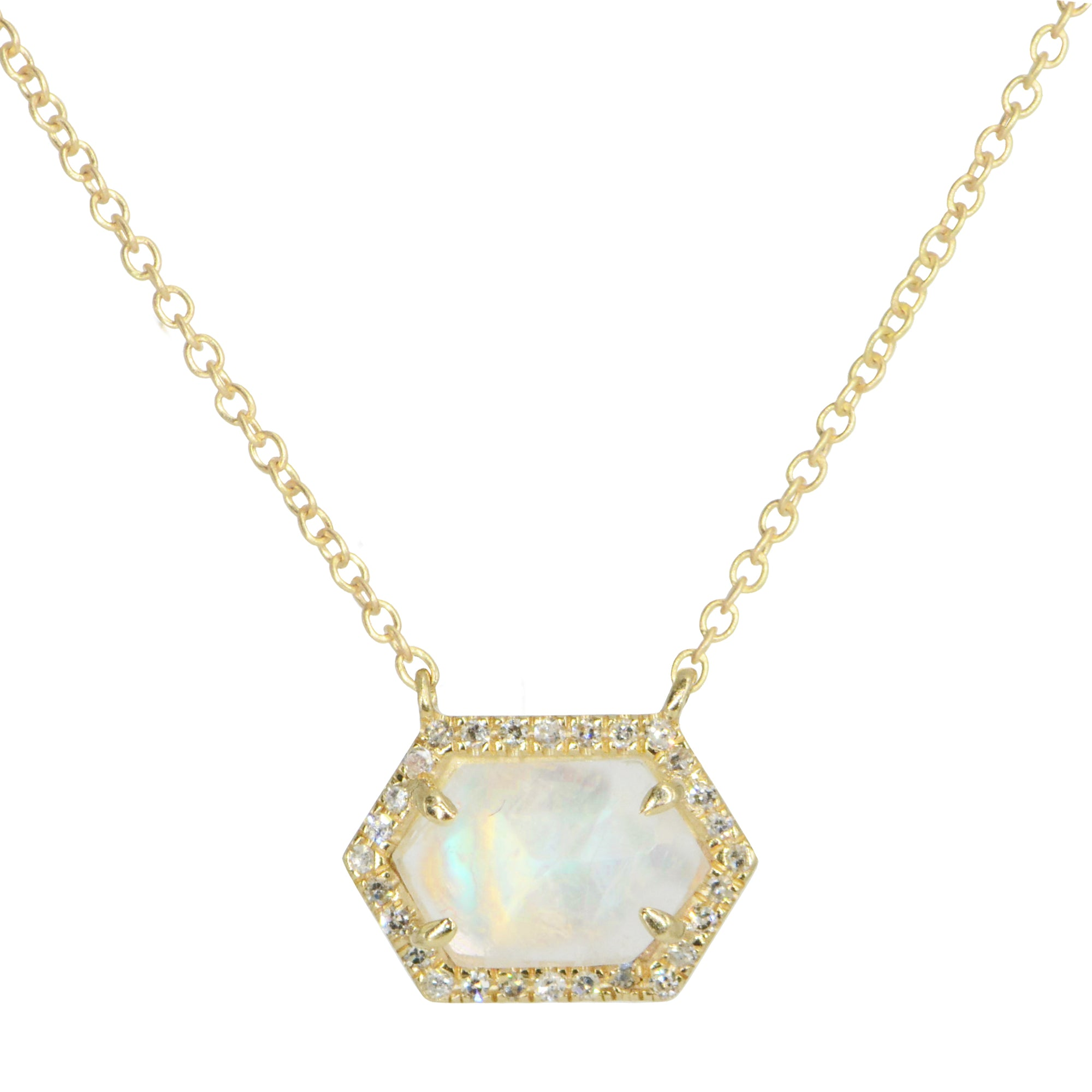 Rainbow Moonstone Hex Necklace With Diamonds 14k Gold