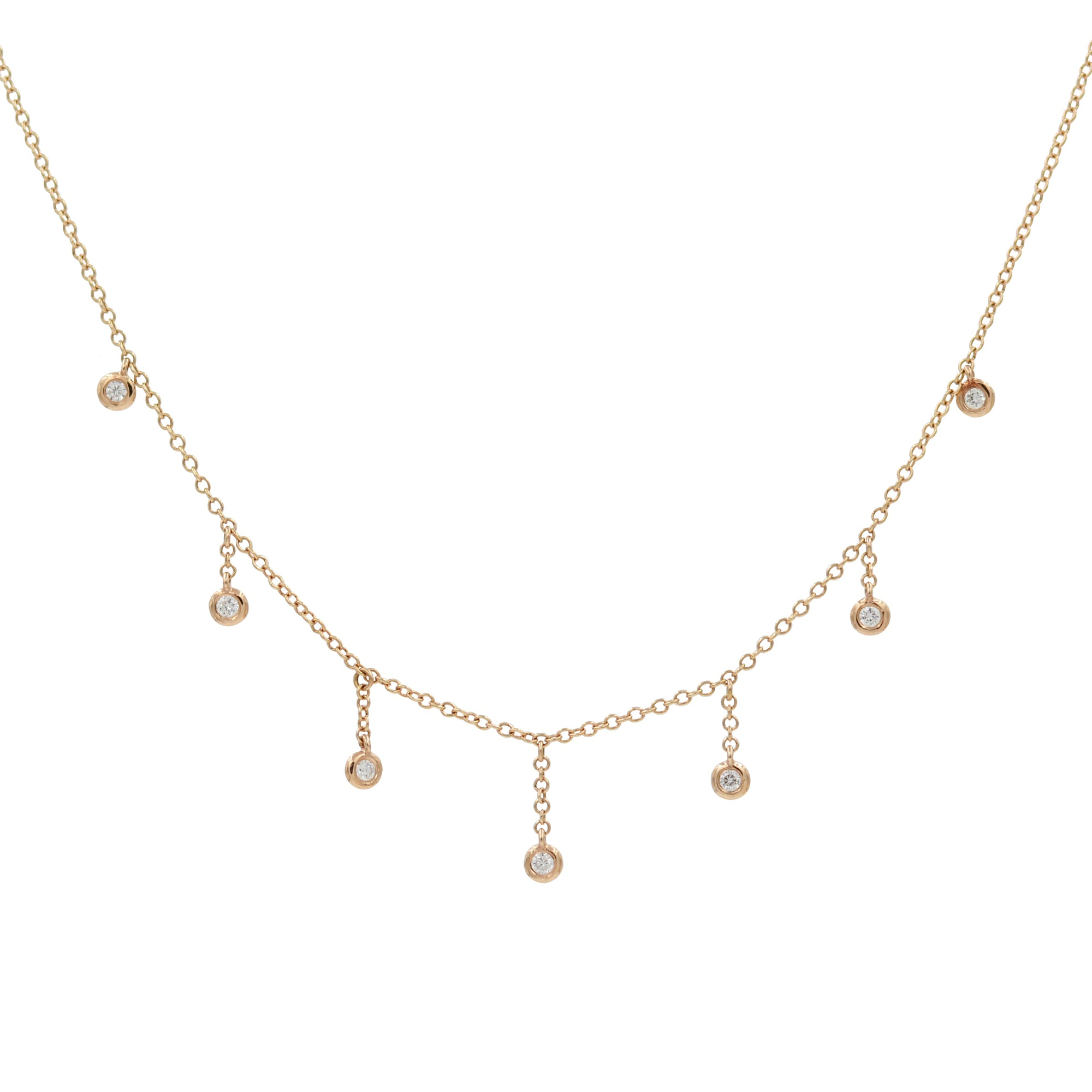 Raindrop Choker Necklace With Diamonds in 14k Rose Gold