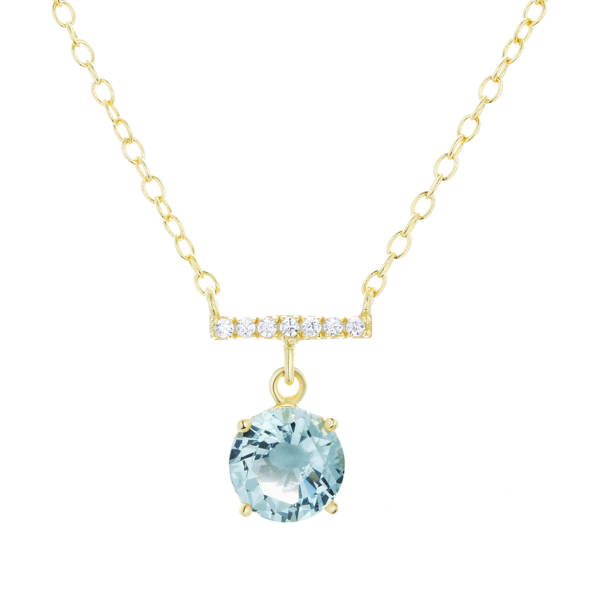 Solitaire Crystal Bar Necklace in aqua green