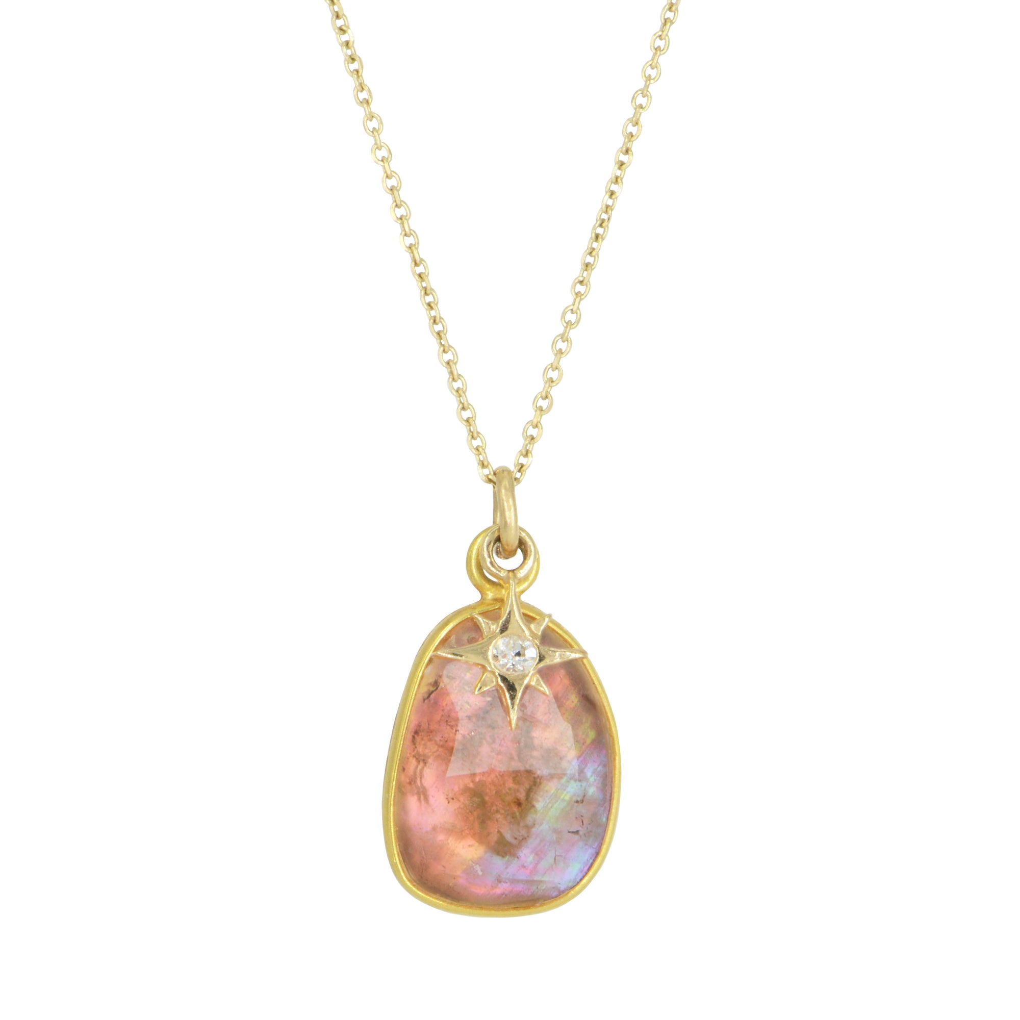 Sunset Tourmaline Necklace With Diamond Star Charm