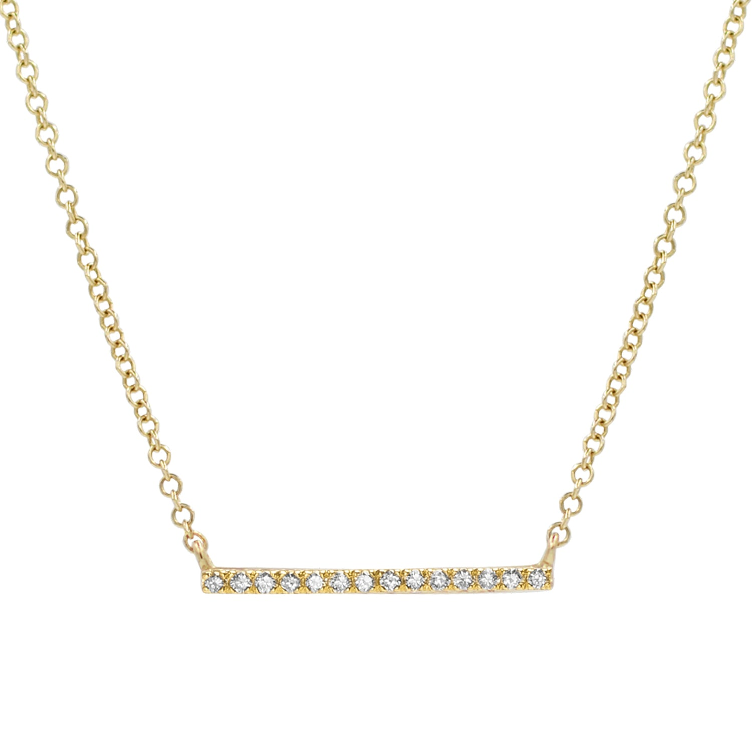 Thin Diamond Bar Necklace in 14k Gold Mini