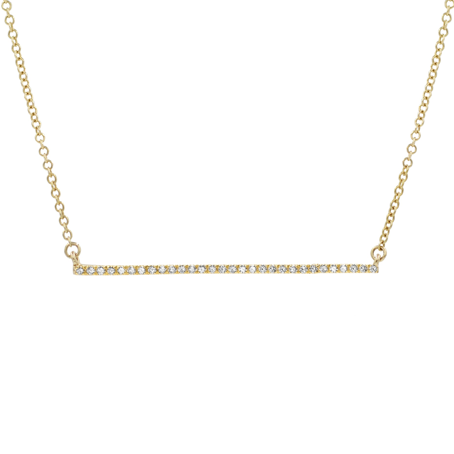 Thin Diamond Bar Necklace in 14k Gold